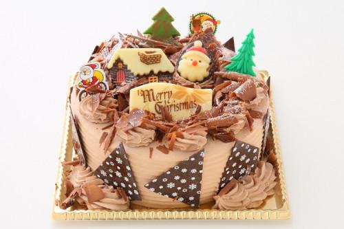 クリスマスケーキ2019 クリスマス チョコ生クリームデコレーションケーキ 4号 12cm