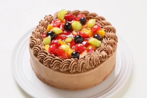 チョコ生クリームフルーツデコレーションケーキ 4号 12cm