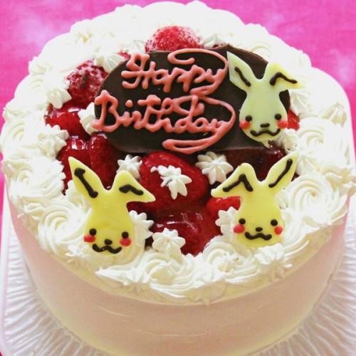 うさちゃん苺デコレーションケーキ 4号 12cm