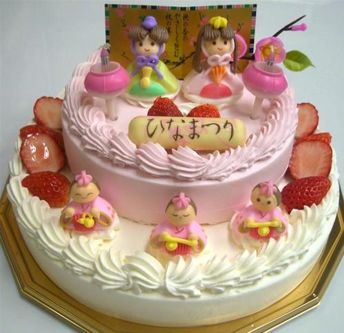 ひなまつりデコレーション2段ケーキ 下段21cm/上段15cm ひなまつり限定