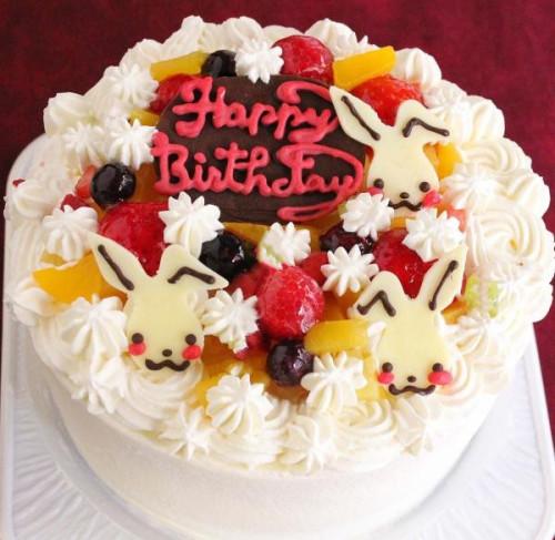 うさちゃんフルーツデコレーションケーキ 5号 15cm