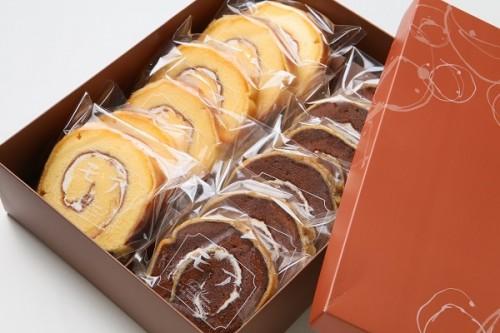 バターロールケーキ カットタイプ・バニラ&ココア 12個入