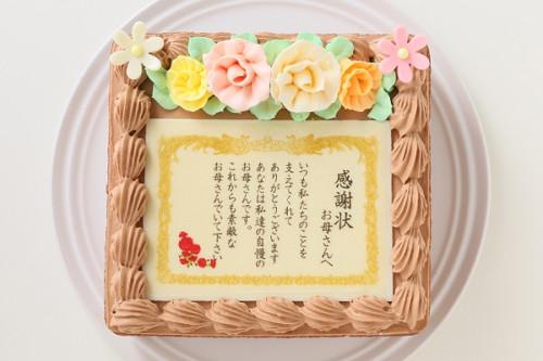 感謝状(メッセージ)生チョコケーキ  約15cmx約14cm 高さ約7cm