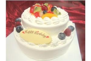 2段フルーツデコレーションケーキ 5号×7号