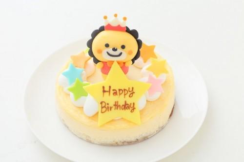 立体チョコ人形【手作り】付きチーズケーキ 5号 15cm