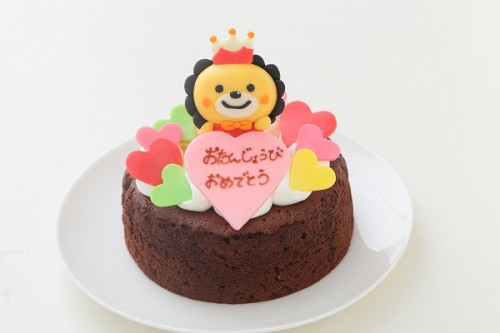 立体チョコ人形【手作り】付きガトーショコラケーキ 5号 15cm