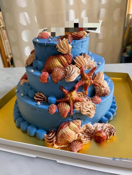 マーメイド3段パーティー用ケーキ 下段25cm×中段18cm×上段12cm