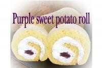 ふんわり卵の紫いも ロールケーキに雪が舞う