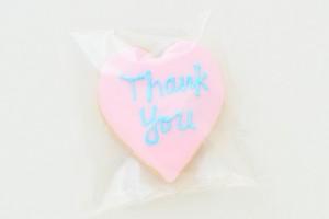 ハートアイシングクッキー ピンク Thankyou 10枚セット