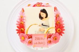 お花いっぱいフォトケーキ 生クリームベース・チョコクリーム 4号 12cm