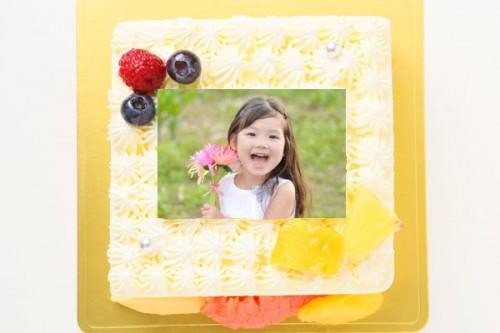 スクエア型フォト生クリームデコレーションケーキ 13cm