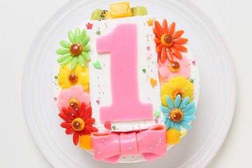乳製品・小麦粉除去可能 デコもり。Happy 1st birthdaycake 4号 12cm