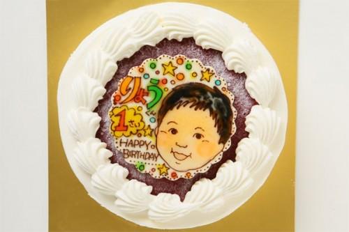 小麦粉除去 米粉の生クリームデコレーションケーキ +似顔絵 5号 15cm