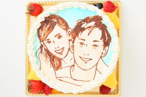 似顔絵デコレーションケーキ 生クリーム 5号 15cm