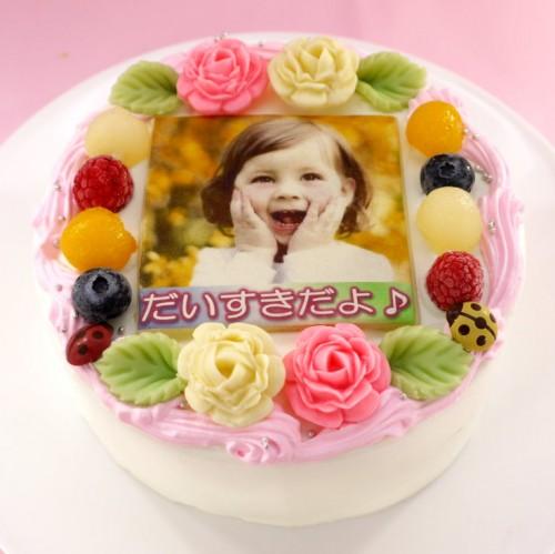 メッセージが入るお花畑の写真ケーキ 5号 15cm