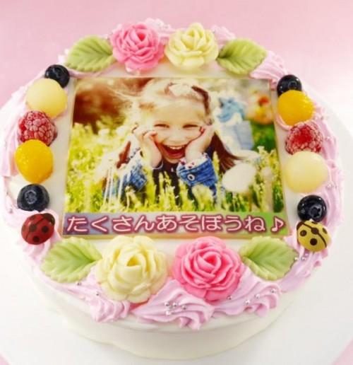 メッセージが入るお花畑の写真ケーキ 6号 18cm