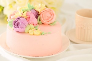 立体フラワーバタークリームデコレーションケーキ 4号 12cm
