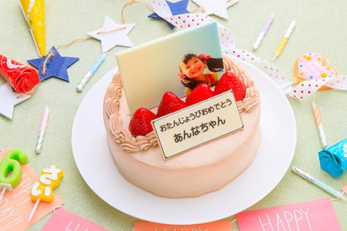 写真ケーキ 苺たっぷり!チョコ生クリームフォトデコレーションケーキ 5号 15cm