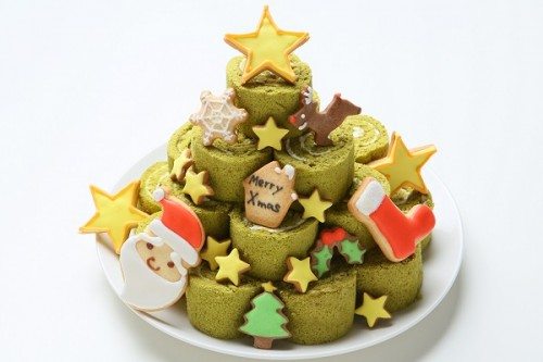 クリスマスケーキ2019 みんなで飾り付け!クッキーが2種類から選べるロールケーキタワー