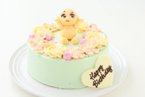 チョコキャラクター人形付き フラワーバタークリームデコレーションケーキ 5号 15cm