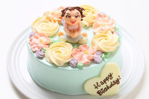 チョコ似顔絵人形付き フラワーバタークリームデコレーションケーキ 4号 12cm