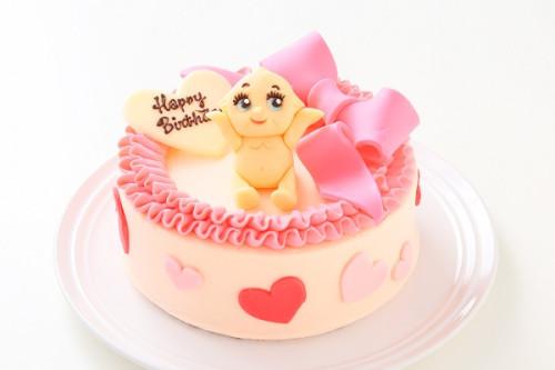 チョコキャラクター人形付き リボンのバタークリームデコレーションケーキ 4号 12cm