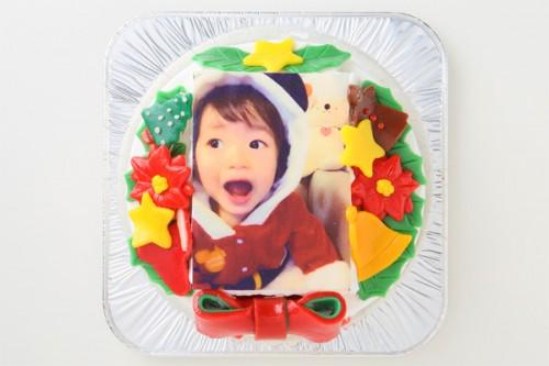 クリスマスケーキ2017 小麦粉除去 デコもり。フォトケーキ×クリスマス リース 4号 12cm