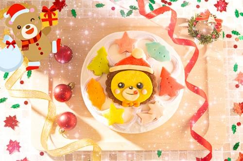 クリスマスケーキ2019 (イラスト1体顔のみ)国産小麦粉使用 キャラクタークッキーのクリスマスデコレーションケーキ 4号 12cm