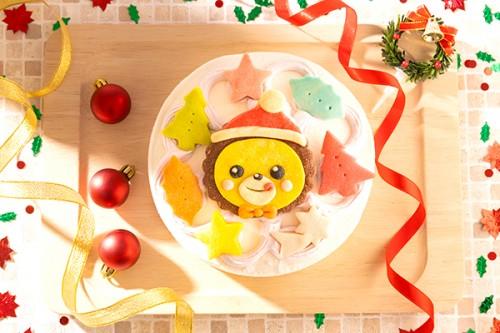 クリスマスケーキ2019 卵・乳製品除去(イラスト1体顔のみ)国産小麦粉使用 キャラクタークッキーのクリスマスデコレーションケーキ 4号 12cm