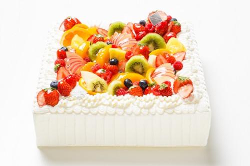 冷蔵直接配送 東京都23区内 パーティ用 フルーツデコレーションケーキ 正方形 22×22cm