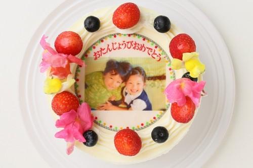 冷蔵配送のエディブルフラワー付き写真ケーキ 5号 15cm