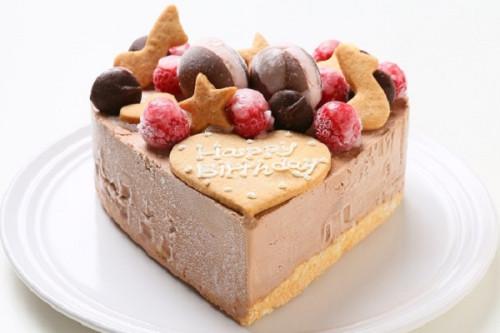 ハート型 チョコレートアイスクリームのデコレーションケーキ 5号 15cm