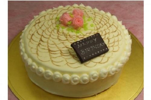 レース上のバラ、バターデコレーションケーキ 5号