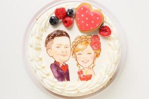 似顔絵ケーキ レアチーズケーキ 4号 12cm