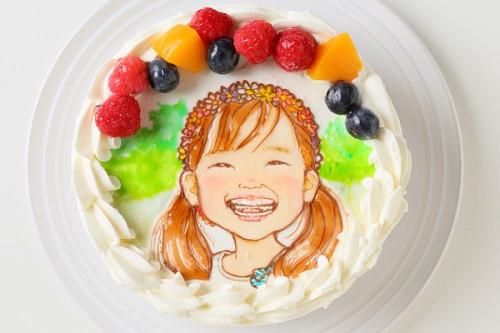 似顔絵生クリームデコレーションケーキ 4号 12cm