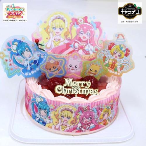苺2段サンド/キラキラ☆プリキュアアラモード/ピンク色で苺味の生クリーム苺デコ/5号キャラデコケーキ