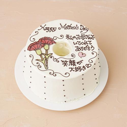母の日 お手紙ケーキ カーネーション 直径17cm