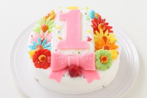 ヨーグルトクリーム デコもり。Happy 1st birthday cake  4号 12cm