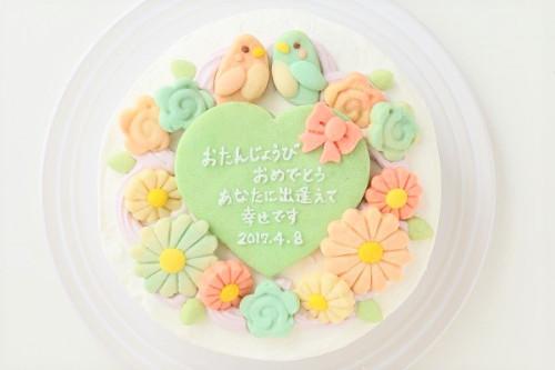 お花畑のメッセージケーキ☆国産小麦粉使用の優しい色と味わい 5号 15cm