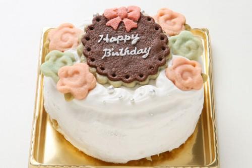 バラのクッキーが可愛いデコレーションケーキ 国産小麦と粗糖の優しい味わい 4号 12cm