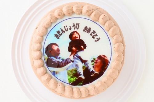 北海道産生クリームと鳳凰卵を使用した写真ケーキ チョコ生 5号  15cm