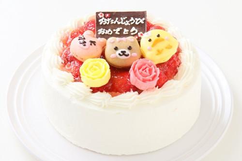 動物マカロン苺ショートケーキ 3個付き 5号 15cm
