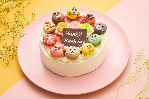 動物マカロン苺ショートケーキ 10個付き 5号 15cm