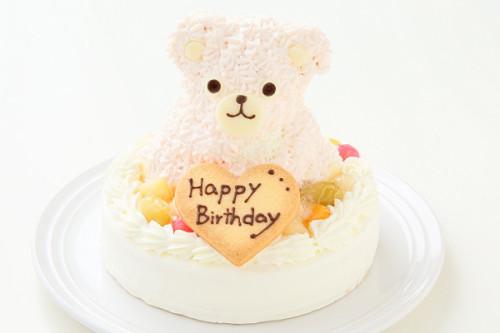 土台型 くまちゃんデコレーションケーキ ピンク 土台部分15cm 高さ11cm