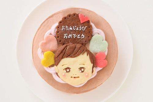 似顔絵クッキーのデコレーションケーキ チョコ生☆国産小麦粉と安心材料 4号 12cm