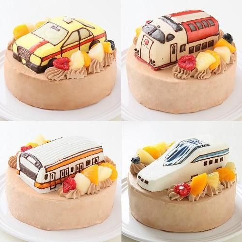 のりもの立体チョコ生クリームデコレーションケーキ 5号 15cm
