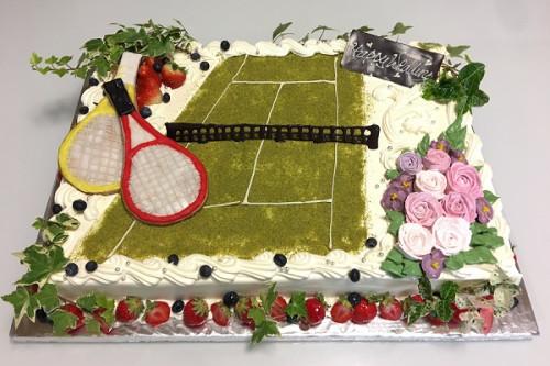 テニスのウェディングケーキ 25x35cm