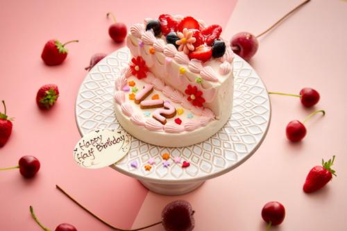 ハーフバースデーケーキ・ピンク 5号 15cm