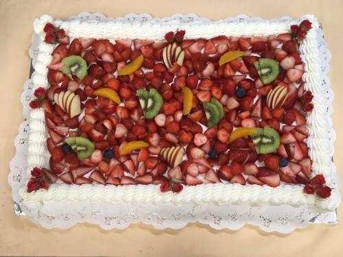 パーティー用 季節のフルーツのスクエアデコレーション 33cm×48cm 60~63名様向け