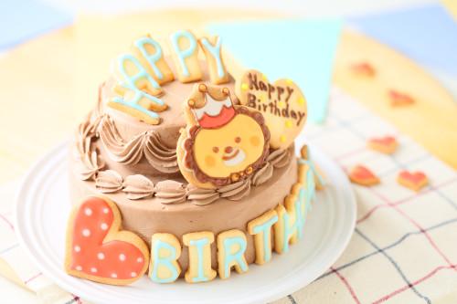 HAPPY BIRTHDAYアイシングクッキー付き イラストキャラクターデコレーションケーキ(チョコ生クリーム) 5号 15cm